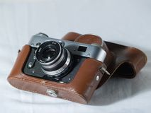 Rangefinder camera. And open case Stock Photo