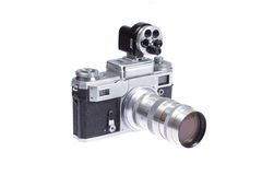 Rangefinder camera with additional viewfinder Royalty Free Stock Photos