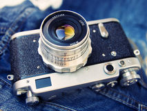 Rangefinder film camera Royalty Free Stock Images
