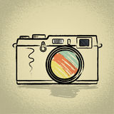 Rangefinderkamera med Brushwork Arkivfoto