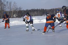 Women`s teams compete in a Pond Hockey Festival in Rangeley. Stock Photography