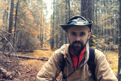 Ranger in autumn  forest Royalty Free Stock Images