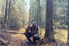 Ranger in autumn  forest Stock Photos