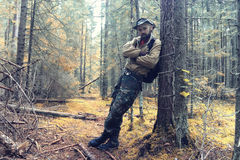 Ranger in autumn  forest Royalty Free Stock Photo