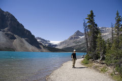 Ranger on bow lake Royalty Free Stock Photo