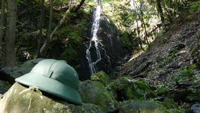 Ranger hat at nature reserve stock footage