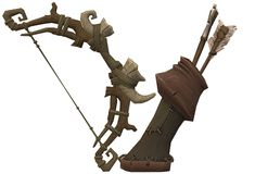 A ranger imaginary fantasy wood elf bow and quiver of arrows. A computer generated illustration image of a ranger imaginary fantasy wood elf bow and quiver of stock illustration