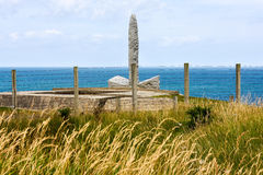 Ranger Monument, Pointe du Hoc, France. Monument to Second Ranger Battalion who scaled the cliff in World War Two Royalty Free Stock Photo