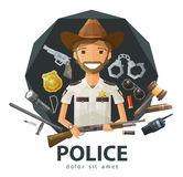 Ranger, sheriff vector logo design template. Funny Ranger with a gun in his hand. vector. flat illustration Stock Photography