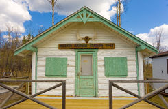A ranger station on display at a tourist information center. A small sample building as seen at grande cache, alberta Stock Image