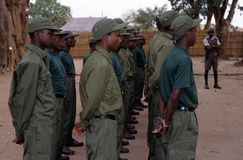 Rangers during a drill in the Gorongosa National Park Stock Image