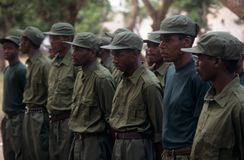 Rangers during a drill in the Gorongosa National Park Royalty Free Stock Image
