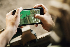 Rangers paves the route on an electronic tablet Stock Photography