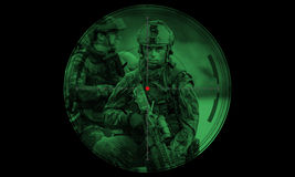 Rangers team during night mission/operation hostage rescue.view Stock Images