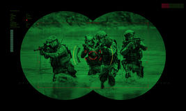 Rangers team during night operation hostage rescue.view through Royalty Free Stock Images