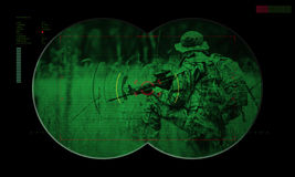 Rangers team during night operation hostage rescue.view through Royalty Free Stock Image