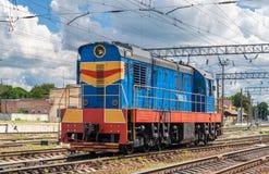 Rangierer auf einer ukrainischen Station stockbild