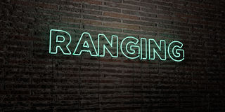 RANGING -Realistic Neon Sign on Brick Wall background - 3D rendered royalty free stock image. Can be used for online banner ads and direct mailers Stock Illustration