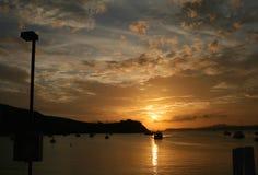 Rangitoto ö på solnedgång Arkivbild
