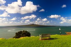 Rangitoto Island and Hauraki Gulf from Devonport, Auckland, New Zealand. Summer Landscape with Blue Sky on the Pacific Sea Coast. A view to Rangitoto Island and Stock Images