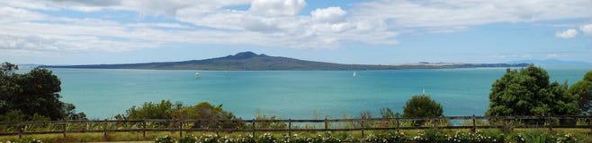 Rangitoto Island and the Hauraki Gulf. From MJ Savage Memorial Park (Auckland, New Zealand Royalty Free Stock Photo