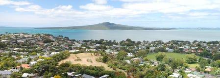 Rangitoto Island and the Hauraki Gulf, New Zealand. The view of Rangitoto Island, Hauraki Gulf and Devonport suburbs in Auckland, New Zealand Royalty Free Stock Image