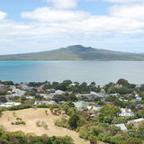 Rangitoto Island and the Hauraki Gulf, New Zealand. The view of Rangitoto Island, Hauraki Gulf and Devonport suburbs in Auckland, New Zealand Stock Image