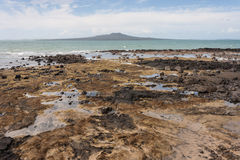 Rangitoto Island from Milford beach Royalty Free Stock Photos
