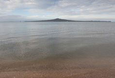 Rangitoto island from Mission bay view, Auckland, New Zealand. Royalty Free Stock Photos