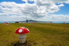 Rangitoto Island View from Mt Victoria Devonport Auckland New Zealand. A colourfully painted mushroom field at the front Stock Image