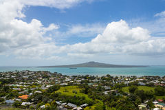 Rangitoto Island View from Mt Victoria Devonport Auckland New Zealand. Urban landscape at the front Stock Photography