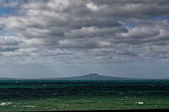 Rangitoto Island, a volcanic island in Gulf Harbour, New Zealand stock images