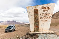 Nice Off-road vehicle at  Rangkul. RANGKUL, TAJIKISTAN - CIRCA JUNE 2017: Off-road vehicle at  Rangkul Lake in Tajikistan circa June 2017 in Rangkul Stock Photo