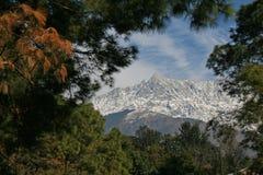 Rango del himalayn de Dhauladhar de la ciudad la India de dharamsala Fotografía de archivo