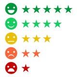 Rango o livello di valutazione di soddisfazione Rassegna sotto forma di emozioni, smiley, stelle Molti colori Immagine Stock