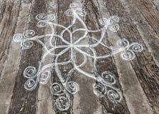 Rangoli, порошок риса рисуя на том основании Стоковая Фотография