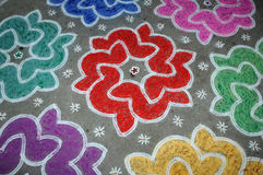 Rangoli. Handiwork design using coloured stone powder Stock Image