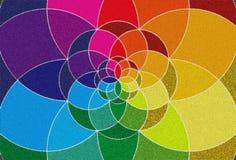 Rangoli Background for Diwali. Colour palette. Vibrant colour spectrum. Colourful Flower stock illustration