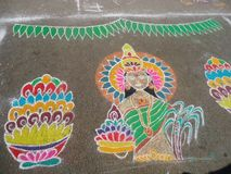 Rangoli. Competition drawing muggulu Muthyala fruits Royalty Free Stock Photos