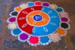 Rangoli decoration with colored powder. Chiplun royalty free stock photo