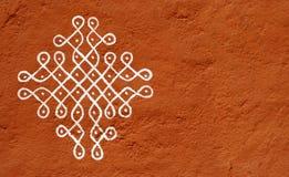 Rangoli-Handarbeitsdesign auf Wand Lizenzfreies Stockbild
