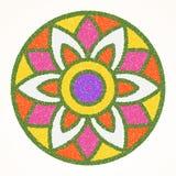 Rangoli indio tradicional del ornamento para tarjeta de felicitación del festival de Onam o de Diwali
