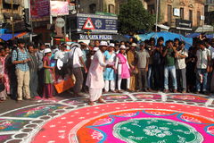 Rangoli In Kolkata Rath Yatra-1. stock images