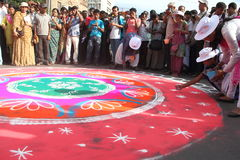 Rangoli In Kolkata Rath Yatra-2. royalty free stock photography