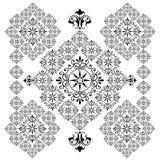 Rangoli line art. Black colour rangoli ornamental designs for christmas, festival - VECTOR royalty free illustration