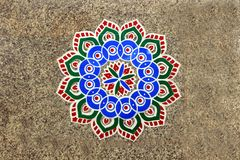 Rangoli Pattern on Floor Stock Photo