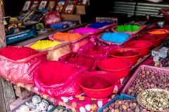 Rangoli powder for sale on Kathmandu street market. Bright-colored rangoli powder for sale on Kathmandu street market, Nepal Stock Image