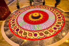 Rangoli. The purpose of rangoli is decoration, and it is thought to bring good luck. Design depictions may also vary as they reflect traditions, folklore and Royalty Free Stock Photos