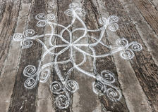 Rangoli, rice powder drawing on the ground. Stock Photography