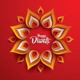 Happy Diwali. Paper Graphic of Indian Rangoli. Rangoli - A traditional Indian art of decorating the entrance to a house stock illustration